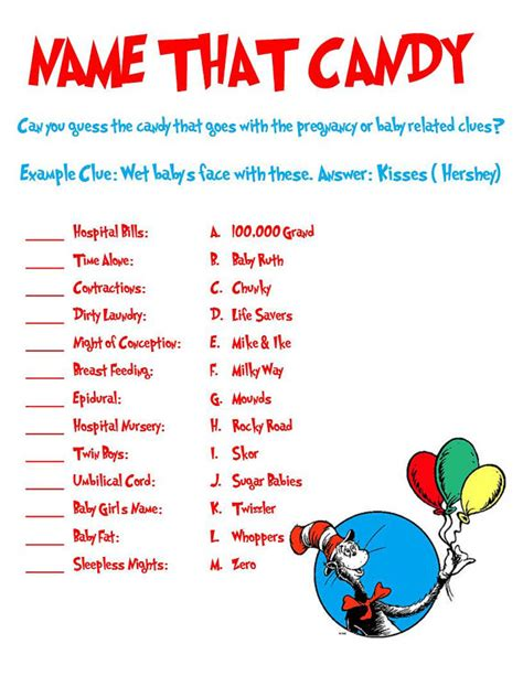 dr seuss shower game   candy