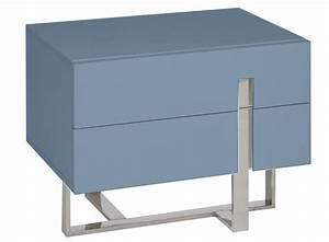 Table De Chevet Bleu : table de chevet moderne bleu laqu et acier dezina ~ Preciouscoupons.com Idées de Décoration