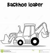 Backhoe Cartoon Loader Vector Draw sketch template