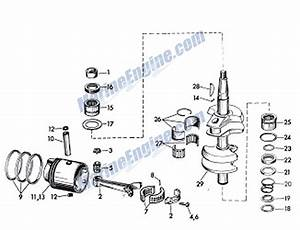 Big Twin Crankshaft And Piston Parts For 1960 40hp 35018 Outboard Motor
