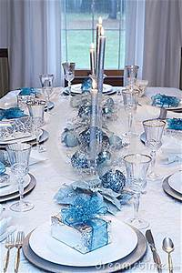 Christmas Holiday Table Setting Blue White Stock