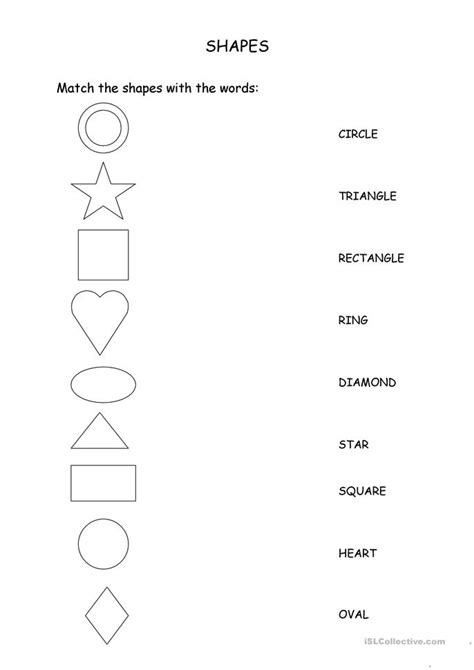 match the shapes with the words worksheet free esl