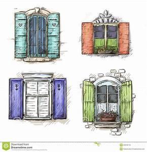 Set Of Vintage Windows Hand Drawn Stock Vector ...