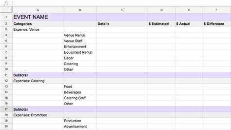 event budget template   planning   easier