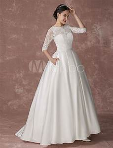 satin princess wedding dress lace ball gown bridal dress With silk princess wedding dresses