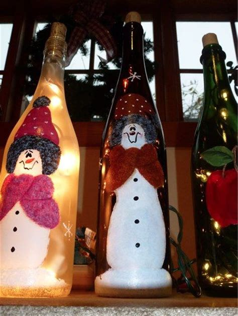 painted bottles with lights inside festive hand painted