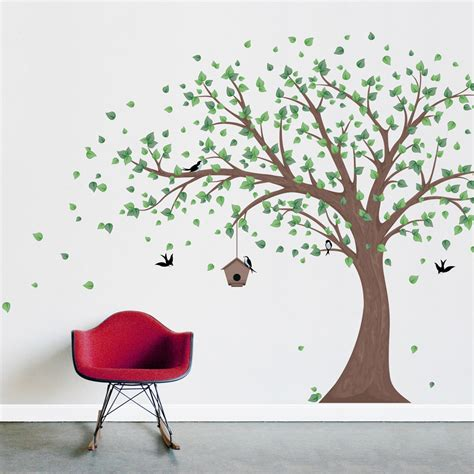 wall applique printed windy tree with birdhouse wall decal