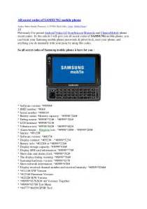 All Samsung Mobile Phone Secret Codes