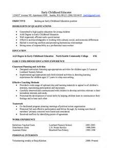 early childhood resumes early childhood educator resume sles resumes design