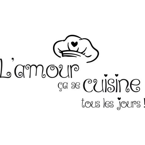 citation cuisine amour sticker toque de cuisinier et textes citations de cuisine