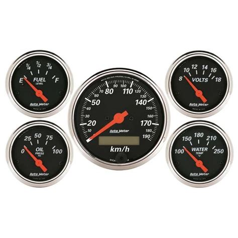 Auto Meter 1421-m Designer Black 5 Piece Electric Gauge Kit