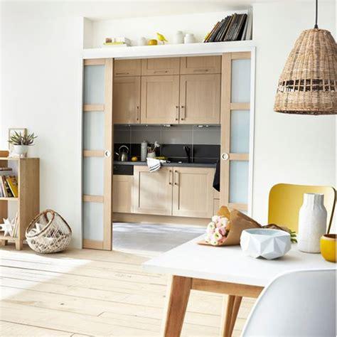 porte coulissante cuisine salon cuisine semi ouverte maison