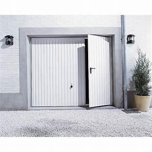 Porte de garage basculante manuelle h200 x l240 cm avec for Porte de garage coulissante et double porte salon