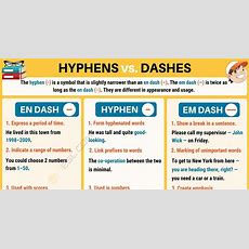 Hyphen () When To Use A Hyphen In English  7 E S L