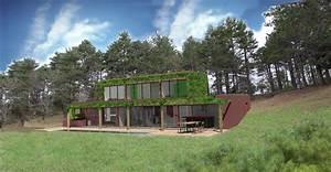maison bioclimatique sur terrain en pente dans l39aude With delightful plan maison en pente 2 exemples de plans de maisons en corse