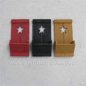Farmhouse country chic wood star wall box pocket primitive