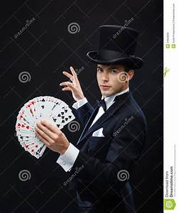 Magician Showing Trick With Playing Cards Royalty Free ...