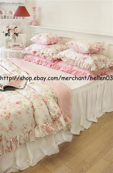 shabby chic comforter set king queen full twin princess shabby floral chic pink duvet comforter cover set ebay