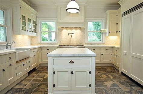 kitchen floor ideas with white cabinets cream color kitchen cabinets and slate floor and company