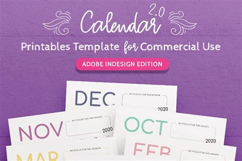 template calendar  indesign  printable calendar