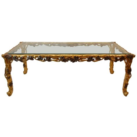 gold glass top coffee table italian gold leaf carved wood coffee table with beveled
