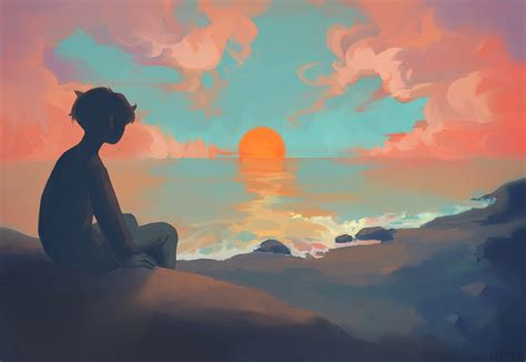 Anime Sunset Wallpaper Hd - anime boy sitting sunset hd anime 4k wallpapers