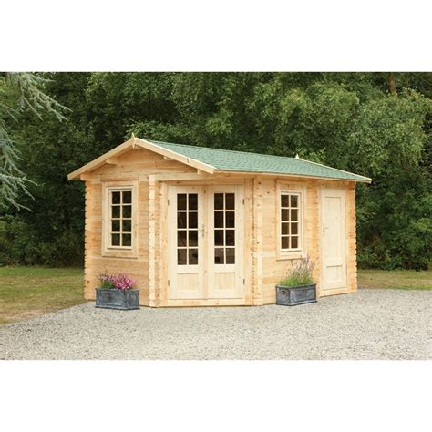 corner apex log cabin double glazing mm machined logs installed includes