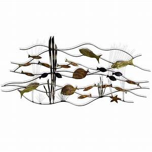 metal wall sculpture With fish wall decor