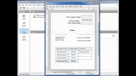 libreoffice base  home invoice pt tables youtube