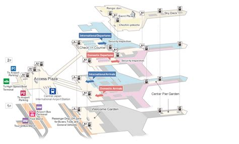 airport floor map services  facilities chubu