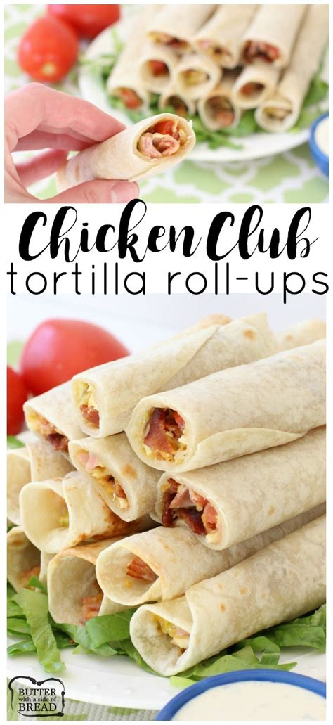 chicken club roll ups butter   side  bread