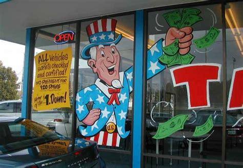 volvo car dealer portland  huge uncle sam painted