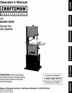 Craftsman 351224010 User Manual 14 Band Saw Manuals And