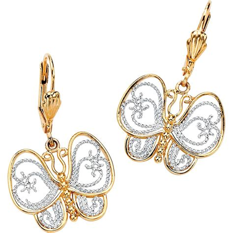palmbeach 18k yellow gold plated filigree butterfly drop