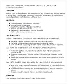 Spa Receptionist Cover Letter Professional Salon Receptionist Templates To Showcase Your Talent Myperfectresume