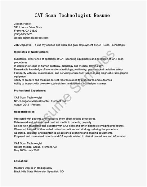 scan resume to email resume sles cat scan technologist resume sle