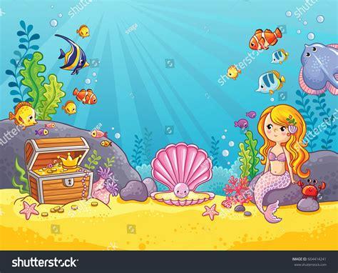 vector background underwater world childrens style stock