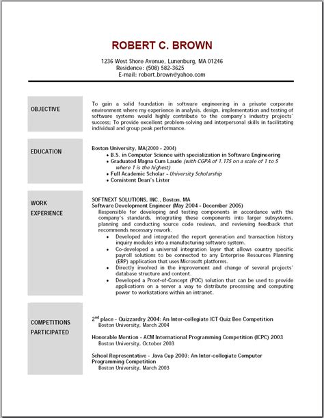 exles of a objective on a resume resume format