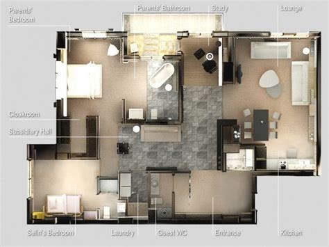 interesting  bedroom apartment plans home design lover
