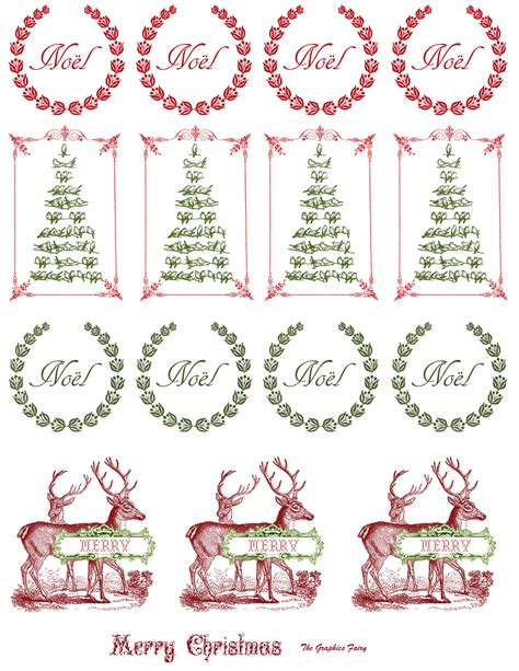 printable vintage christmas stickers  graphics fairy