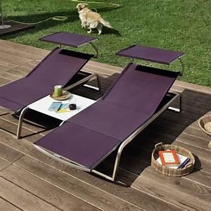 Bain De Soleil Avec Accoudoir : bain de soleil modulable l3 avec parasol jardinchic ~ Teatrodelosmanantiales.com Idées de Décoration