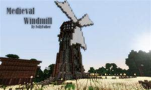 Medieval Windmill /w wheat field & barn Minecraft Project