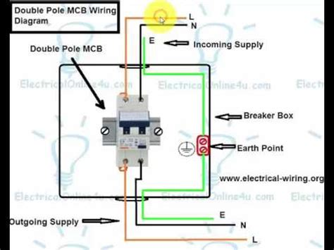 How Wire Double Pole Breaker Mcb English Youtube