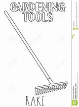 Rake Line Illustration Coloring Garden Tool Vector Adults Country Leaf sketch template