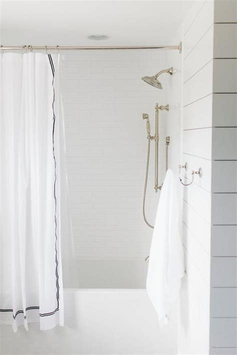 shower with white brick tiles transitional bathroom