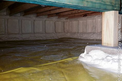 Spray Foam Insulation Crawl Space Dirt Floor by Crawl Space Encapsulation Concrete Drain Tile