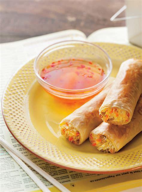 recette cuisine printemps low egg rolls ricardo