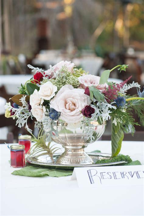lush blush  burgundy rose centerpiece