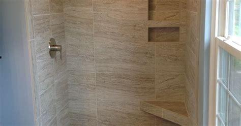 bathroom tile images ideas marazzi silk 12x24 quot tiles in a 34x48 quot shower space