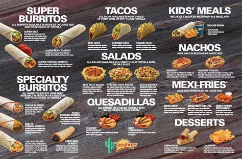 taco menu taco time menu and prices 2018 restaurantfoodmenu